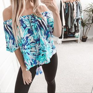 Lilly Pulitzer Sain Off The Shoulder Top Diamond